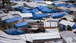 A tent community set up in Haiti's capital of Port-au-Prince after the devastating earthquake