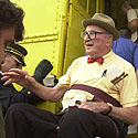 C.P. 'Chappie' Fox, founder of the Great Circus Parade, boards the train in Baraboo.
