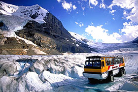 Snow Coach on Athabasca Glacier near Banff