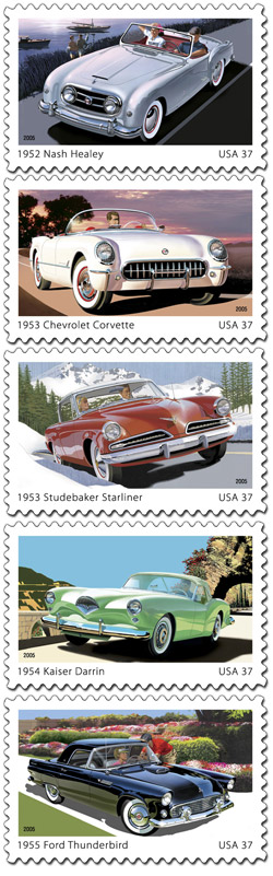 America on the Move: 50s Sporty Cars commemorative stamps