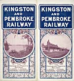 Brochure of the Kingston & Pembroke Railway, 1899, with photographs of a lakeshore and a train station