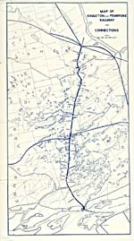 Map from brochure of the Kingston & Pembroke Railway, 1899, showing main and connecting routes