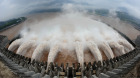Flood water is released from the Three Gorges Dam's floodgates in Yichang, in central China's Hubei province.