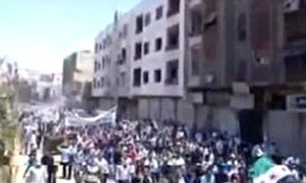 Mobile phone footage of anti-government protest in Damascus, Syria, 24 June 2011