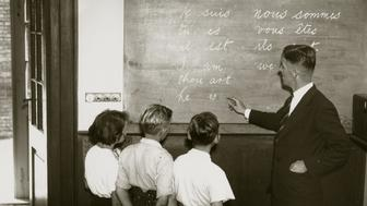 A french classroom in the 1940s