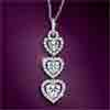 Hearts Desire Sterling Silver Heart-Shaped Cubic Zirconia Pendant Necklace - Sterling Silver Heart-Shaped Cubic Zirconia Pendant Necklace Showcases Dazzling Triple Heart Pendant - Stunning Exclusive!