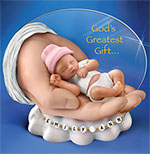 Gods Greatest Gift Personalized Tiny Sleeping Baby Figurine - Personalized Miniature Sleeping Baby Figurine with Childs Name! Ideal Keepsake or Collectible Tiny Baby Gift! Exclusive