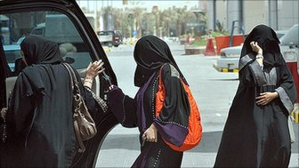 Women getting into a car in Saudi Arabia