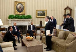 President Barack Obama and Vice President Joe Biden are briefed by senior advisors in the Oval Office, June 27, 2011. Participating in the briefing, from left, are: Senior Advisor David Plouffe, Gene Sperling, National Economic Council Director; Chief of Staff Bill Daley; Rob Nabors, Assistant to the President and Director of Legislative Affairs; and Jack Lew, Office of Management and Budget Director. (Official White House Photo by Pete Souza)