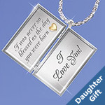 Dear Daughter Letter Of Love Engraved Locket Necklace - Engraved Daughter Locket Necklace Delivers Your Message of Love! Ideal Jewelry Gift for Daughter! Genuine Diamonds! Exclusive