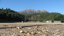 Gravel on the football oval at Queenstown on Tasmania's west coast.