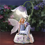 Enchanting Violet Porcelain Fairy Figurine Music Box - Collectible Porcelain Fairy Figurine Music Box an Exclusive First-ever Illuminated Musical Figurine with Lena Liu Floral Art