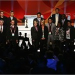 Head coaches of the 16 qualified teams pose for a group picture after the offical FIFA 2011 Women 's World Cup final draw