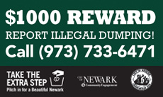 Report illegally dumped trash for $1000 reward. Call (973) 733-6471.