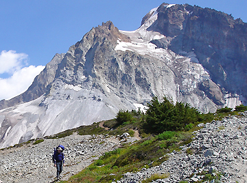 Descending Brohm Ridge with Mt Garibaldi in the background