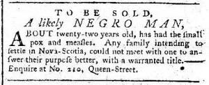 Advertisement: Negro Man, for Nova Scotia