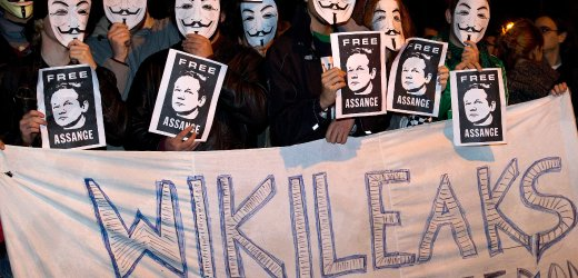 "A pro-WikiLeaks demonstration in Madrid on Saturday: ""Donations were never as strong as now."""