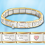 My Daughter, I Wish You Italian Charm Bracelet With Swarovski® Crystals - Exclusive Daughter Charm Bracelet Adorned with 17 Charms and Colorful Swarovski® Crystals! Enchanting Daughter Gift