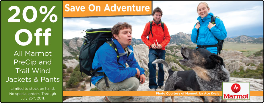 20% off all Marmot PreCip and Trail Wind Jackets & Pants