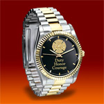 Stainless Steel Firemen Watch Gift For Firefighters - Exclusive Firefighter Watch! Expertly Handcrafted of Stainless Steel with 24K Gold-plated Accents and Maltese Cross!