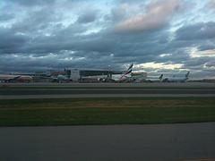 MHillyer posted a photo:Boeing 777-300 and 737 bracketing an A380.
