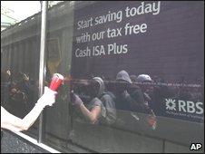 G20 protesters at Royal Bank of Scotland