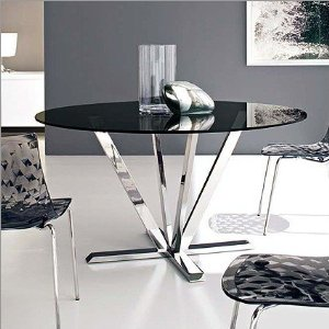 Calligaris Stardust Smoked Grey Glass Dining Table