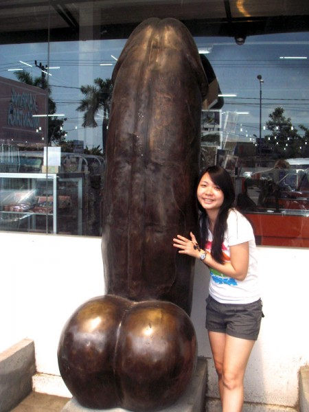Aki and the Giant Bali Dick Sculpture