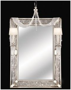 Mirror in Warm Silver Leaf with Hand-cut crystals
