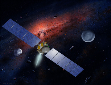 NASA's Dawn spacecraft, illustrated in an artist's concept