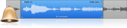 A visual representation of a ringtone sound wave as it might appear in iTunes while it's being created.