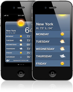 Two iPhones. The iPhone in the background is displaying the weather application. The iPhone in the foreground shows the weather application zoomed 200%