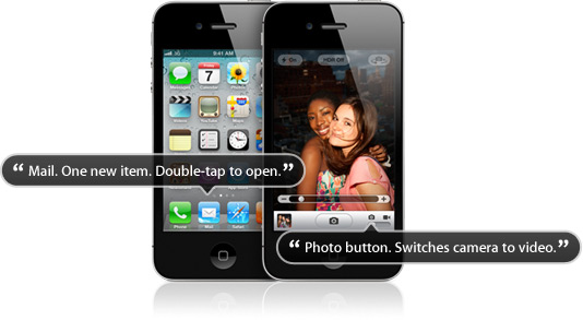 Two iPhones. The iPhone in the background shows the home screen.  A dialog bubble indicates VoiceOver speaking the hint: Mail. One new item. Double-tap to open.  The iPhone in the foreground shows the Camera application with a beach ball in the viewfinder. The VoiceOver cursor is on the mode switch button and a dialog bubble indicates VoiceOver speaking the hint: Photo button. Switches camera to video.