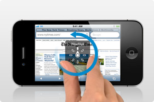 Two fingers touching a iPhone display and a counter-clockwise arrow indicating how to enter a rotate gesture.
