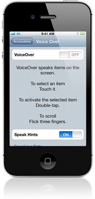 iPhone 3GS displaying VoiceOver settings. The VoiceOver and Speak Hints buttons are on. Three instructions appear: To select an item touch it. To tap the selected item, double-tap. To scroll, flick three fingers.