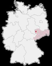 Mapa de Alemania, posición de Leipzig destacada
