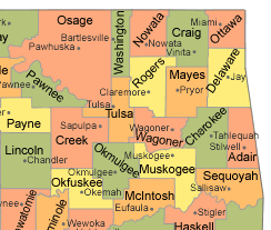 Outline map of northeast Oklahoma counites:  Adair, Cherokee, Craig, Creek, Delaware, Mayes, McIntosh, Muskogee, Nowata, Okfuskee, Okmulgee, Osage, Ottawa, Pawnee, Rogers, Sequoyah, Tulsa, Wagoner, and Washington