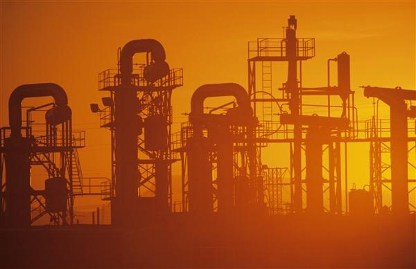 Oil Refinery, Misty Sunset