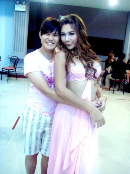 Taking a picture with Thai Lady Boy from Mambo Cabaret Show, Bangkok