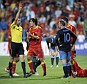Marching orders: Rooney was shown a straight red card against Montenegro