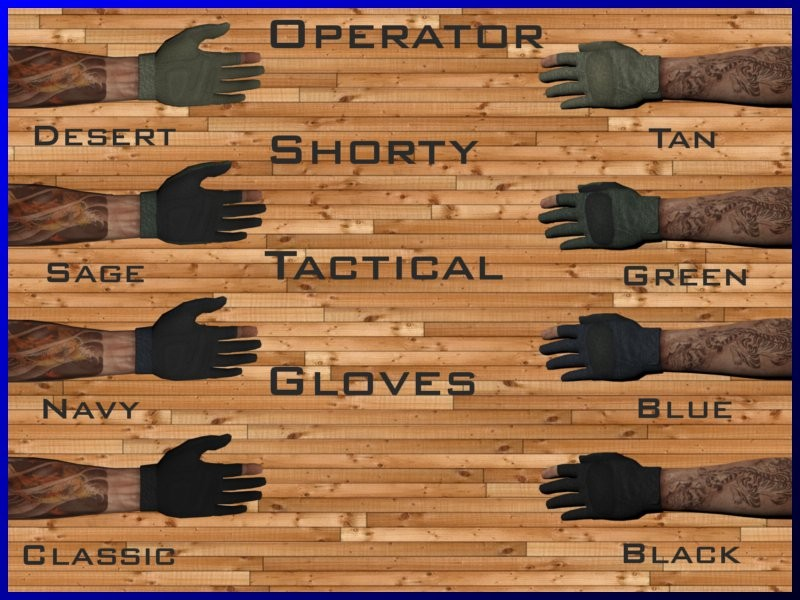 Operator Tactical Gloves on Gravity Skock's Arms