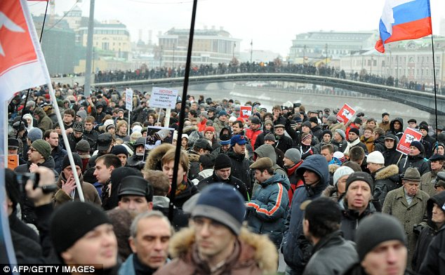 Packed out: Bolotnaya Square is filled with tens of thousands of protesters all campaigning against the rigged elections