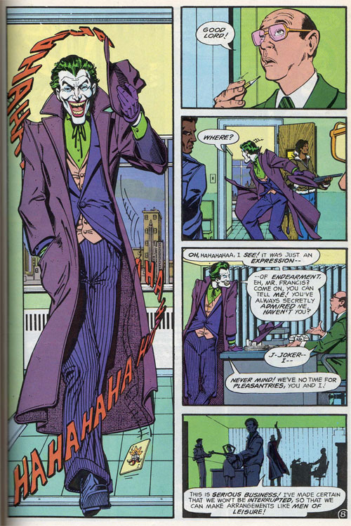 Joker's entrance from Detective Comics #475 (Feb. 1997 cover date)