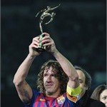 Barcelona captain Carles Puyol with the FIFA Fair Play Award