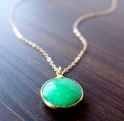 Emerald green opal necklace