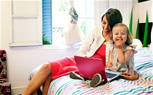 Internet safety - mother and child browse the world wide web