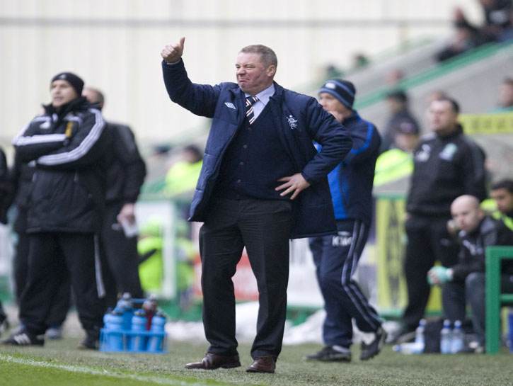 Manager Ally McCoist gives his players the thumbs up...