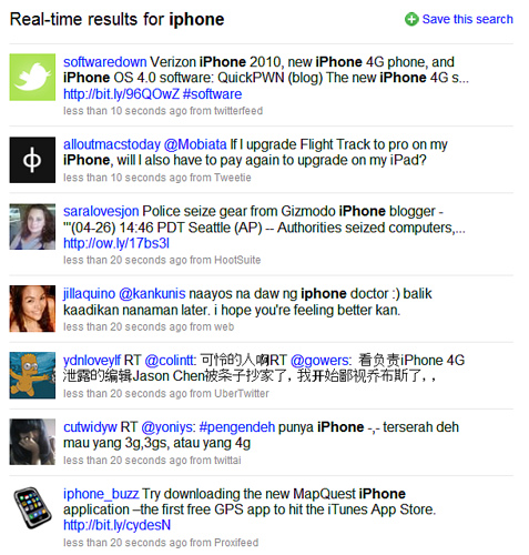 iPhone on Twitter Search, ranked by recency