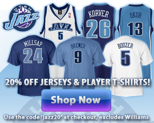 Thank you for a great season! To show our appreciation, UtahJazzStore.com is offering a huge discount! Jerseys and player name and number t-shirts are 20% off! Just enter the code 'jazz20' at checkout to get your discount. *deal excludes Williams.