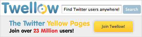 Twellow The Twitter Yellow Pages. Join over 23 Million users!